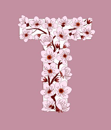 Capital letter T patterned with hand drawn doodle flowers of cherry blossom. Colorful vector illustration font with sakura twigs. Letter of alphabet English language. EPS 10