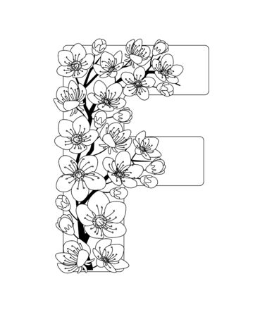 Capital letter F patterned with contour hand drawn doodle blossom cherry. Monochrome page anti stress adult coloring book.