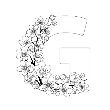 Capital letter G patterned with contour hand drawn doodle blossom cherry. Monochrome page anti stress adult coloring book.
