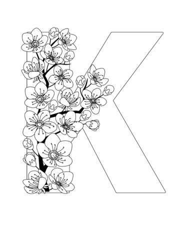Capital letter K patterned with contour hand drawn doodle blossom cherry. Monochrome page anti stress adult coloring book.