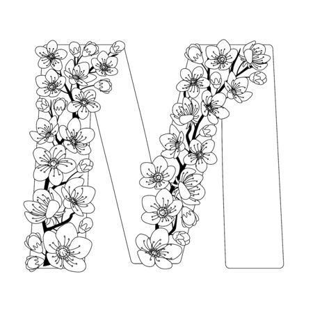 Capital letter M patterned with contour hand drawn doodle blossom cherry. Monochrome page anti stress adult coloring book.