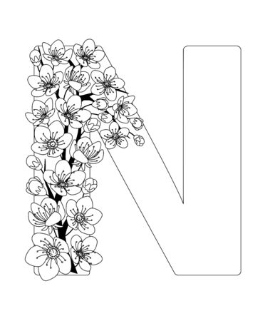 Capital letter N patterned with contour hand drawn doodle blossom cherry. Monochrome page anti stress adult coloring book.
