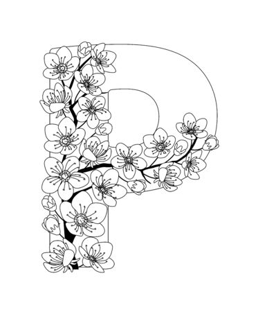 Capital letter P patterned with contour hand drawn doodle blossom cherry. Monochrome page anti stress adult coloring book. Illustration