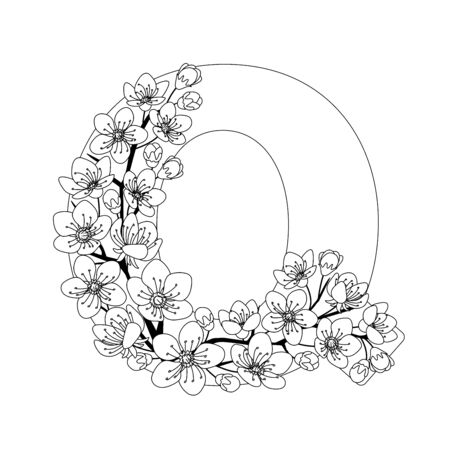 Capital letter Q patterned with contour hand drawn doodle blossom cherry. Monochrome page anti stress adult coloring book.