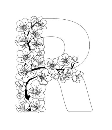 Capital letter R patterned with contour hand drawn doodle blossom cherry. Monochrome page anti stress adult coloring book.