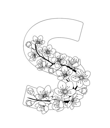 Capital letter S patterned with contour hand drawn doodle blossom cherry. Monochrome page anti stress adult coloring book. Illustration