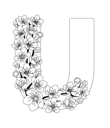 Capital letter U patterned with contour hand drawn doodle blossom cherry. Monochrome page anti stress adult coloring book.