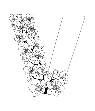 Capital letter V patterned with contour hand drawn doodle blossom cherry. Monochrome page anti stress adult coloring book.