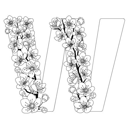 Capital letter W patterned with contour hand drawn doodle blossom cherry. Monochrome page anti stress adult coloring book.