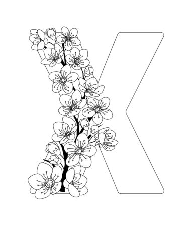 Capital letter X patterned with contour hand drawn doodle blossom cherry. Monochrome page anti stress adult coloring book.