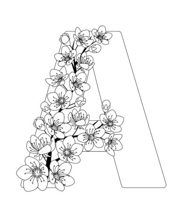Capital letter A patterned with contour hand drawn doodle blossom cherry. Monochrome page anti stress adult coloring book.