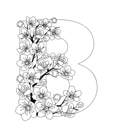 Capital letter B patterned with contour hand drawn doodle blossom cherry. Monochrome page anti stress adult coloring book.