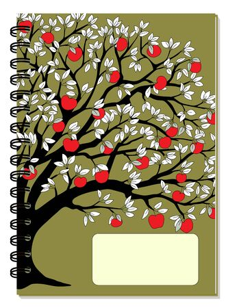 Cover design with drawing tree, autumn apples, blank space, green backdrop for tutorial cover, school notebook, exercise book, sketchbook, album, copybook.