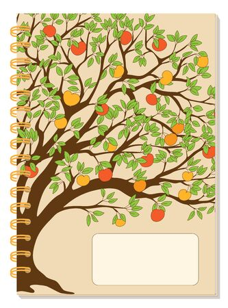 Cover design with drawing tree, autumn apples, blank space, beige backdrop for tutorial cover, school notebook, exercise book, sketchbook, album, copybook.