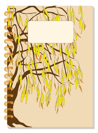 Cover design with drawing foliage willow tree, blank space, beige backdrop for tutorial cover, school notebook, exercise book, sketchbook, album, copybook.