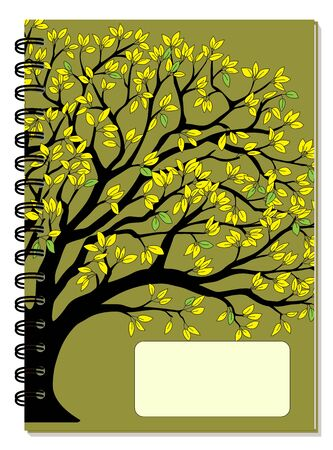 Cover design with drawing yellow foliage tree, blank space, green backdrop for tutorial cover, school notebook, exercise book, sketchbook, album, copybook.