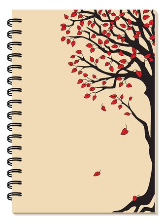 Cover design with drawing black tree, red leaves on the beige backdrop for tutorial cover, school notebook, exercise book, sketchbook, album, copybook.