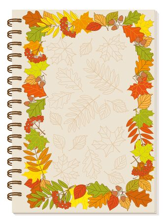 Cover design with colorful frame autumn foliage and rowanberry bunch for tutorial cover, school notebook, exercise book, sketchbook, album, copybook. A5 size notebook template with spiral. Illustration