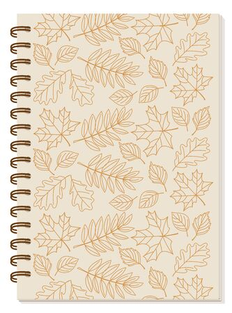 Cover design with hand drawn patterned contour autumn leaves for tutorial cover, school notebook, exercise book, sketchbook, album, copybook.