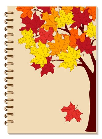 Cover design with hand drawn colorful autumn maple tree for tutorial cover, school notebook, exercise book, sketchbook, album, copybook.