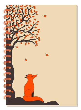 Cover design with drawing black tree, red leaves and cartoon red fox for tutorial cover, school notebook, exercise book, sketchbook, album, copybook.