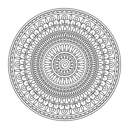 Mandala with hand drawn  elements in arabic, Indian, ethnic motifs. Image for anti-stress therapy, adult coloring books, tattoo, decorate dishes and stationery,  wall art and mural. eps 10 일러스트