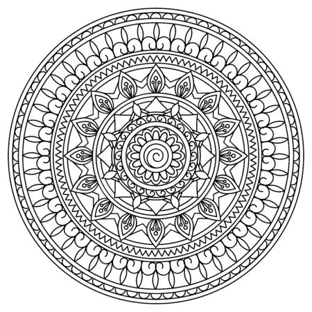 Mandala with hand drawn elements in arabic, Indian, ethnic motifs. Image for anti-stress therapy, adult coloring books, tattoo, decorate dishes and stationery,  wall art and mural. eps 10