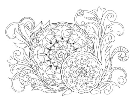 Floral zen-tangle pattern in boho style with mandalas. Isolated page for tattoo, adult anti-stress coloring book, backdrop for visit and invitation card. Outline monochrome vector illustration. eps 10