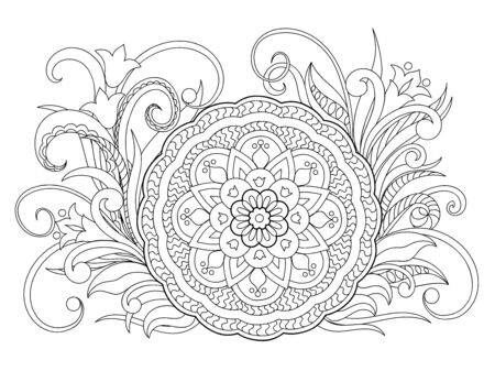 Floral zen-tangle pattern in boho style with mandala. Isolated page for tattoo, adult anti-stress coloring book, backdrop for visit and invitation card. Outline monochrome vector illustration. eps 10