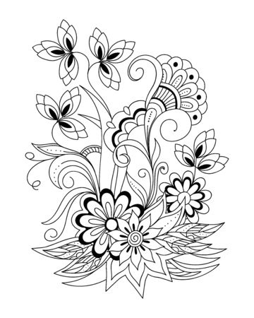 Coloring page with hand drawn henna mehndi flowers for adult antistress coloring book, album, wall mural, tattoo template. eps 10  일러스트