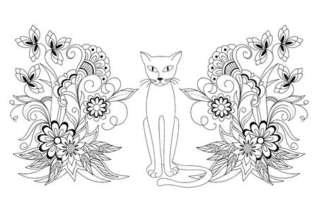 Coloring page with cartoon cat and hand drawn mehndi flowers for  adult antistress coloring book, album, wall mural, tattoo template. eps 10