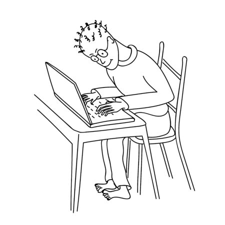 Vector illustration concept of online education, e-learning, e-book, programming. Hand drawn studying or working young man at the laptop on the desk. eps 10