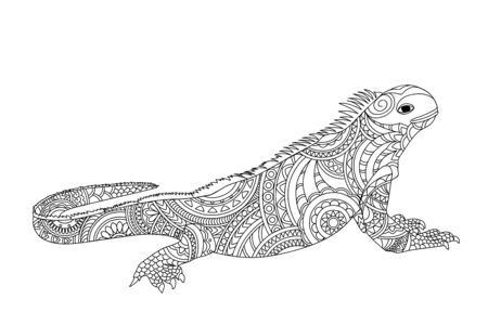 Coloring page with hand drawn patterned iguana isolated on the white for children and adult antistress coloring book, album, wall mural, tattoo. eps 10