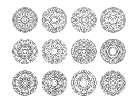 Set of 12 mandalas with hand drawn  elements in arabic, Indian, ethnic motifs. Image for anti-stress therapy, adult coloring books, tattoo, decorate dishes and stationery,  wall art and mural. eps 10