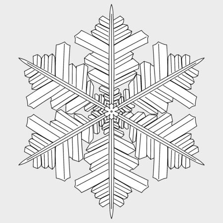 geometric  hand drawn christmas snowflakes isolated on the white background. Monochrome page for adult and children coloring book. eps 10