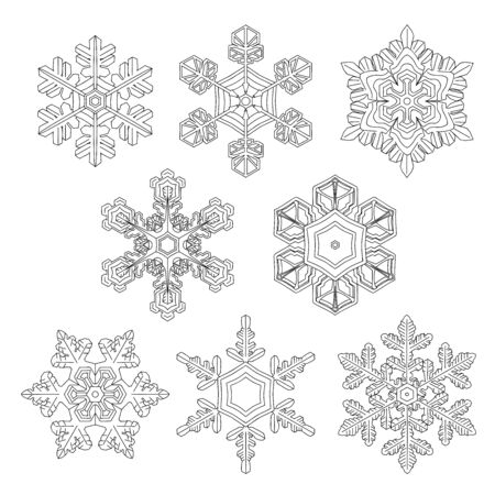Set of the 5 hand drawn christmas snowflakes isolated on the white background. Monochrome page for adult and children coloring book. eps 10  일러스트
