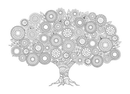 Hand drawn patterned apple tree in zen tangle style with mandalas. Isolated image for adult anti-stress coloring book, home art, decorate wall. Outline monochrome vector illustration. eps 10