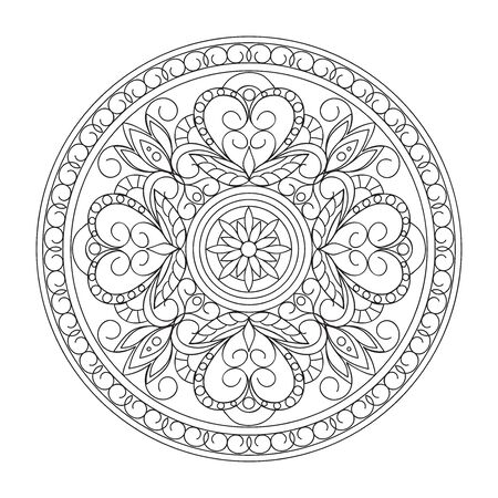 Contour mandala  in damask, Arabic, turkish, pakistan motifs. Image for anti-stress therapy, adult coloring books,  engraving, decorate dishes, labels, greeting, visit, invitation cards. eps 10