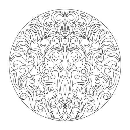 Contour composition  in damask, Arabic, turkish, pakistan motifs. Image for anti-stress therapy, adult coloring books,  engraving, decorate dishes, labels, greeting, visit, invitation cards. eps 10