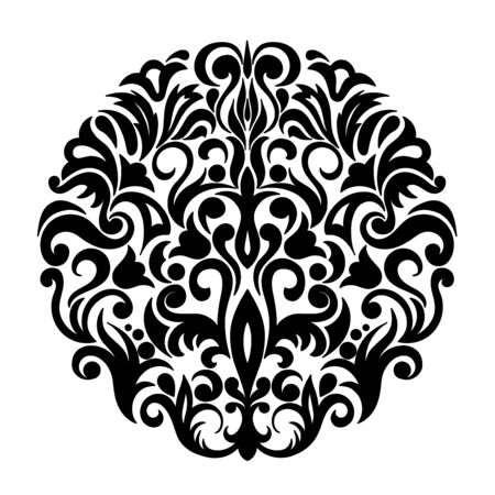 Black composition in damask, Arabic, turkish, pakistan motifs isolated on the white background. Template for tattoo,  engraving, decorate dishes, labels, greeting, visit, invitation cards. eps 10 일러스트