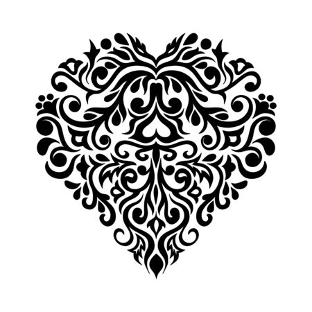 Black composition in damask, Arabic, turkish, pakistan motifs isolated on the white background. Template for tattoo,  engraving, decorate dishes, labels, greeting, visit, invitation cards.
