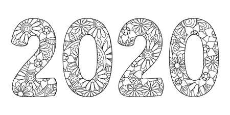Handwritten number 2020 patterned with zen-tangle doodle flowers. Isolated on white. Handwritten font 2020 for decorate, banner, poster, invitation, new year card, adult coloring book. Illustration