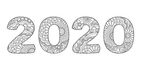 Handwritten number 2020 patterned  tangled mandalas and flowers. Isolated on white. Handwritten font 2020 for decoration, banner, poster, invitation, new year card, adult coloring book.