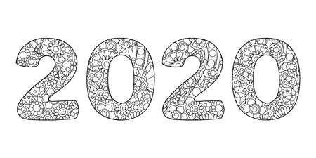 Handwritten number 2020 patterned with tangled flowers and leaves isolated on white. Handwritten font 2020 for decorate, banner, poster, invitation, new year card, adult coloring book.