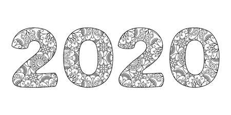 Handwritten number 2020 patterned with tangled flowers and leaves isolated on white. Handwritten font 2020 for decorate, banner, poster, invitation, new year card, adult coloring book. 스톡 콘텐츠 - 151581048