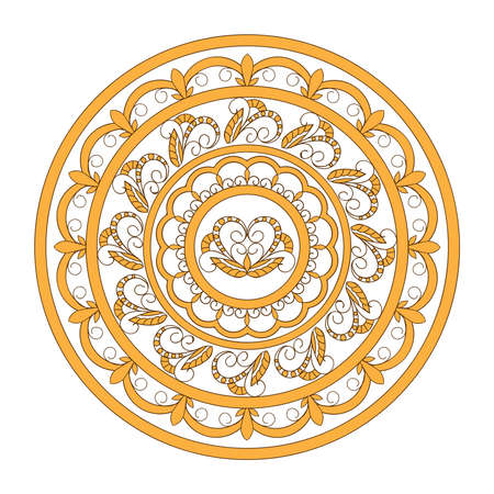 Isolated  mandala with hand drawn elements in ethnic, Indian, turkish, pakistan motifs for decorate yoga things, clothes, apparel, wall art, flyers and visit cards background design.