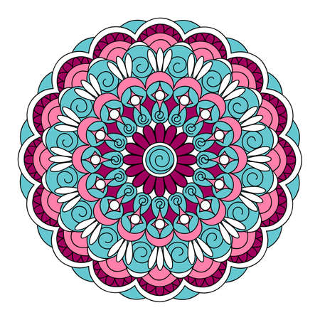 Colorful mandala with hand drawn arabesky elements. Isolated mandala on the white background. Mandala print for decorate home, cards, dishes, porcelain, clothes, stationery, cases, bags. 일러스트