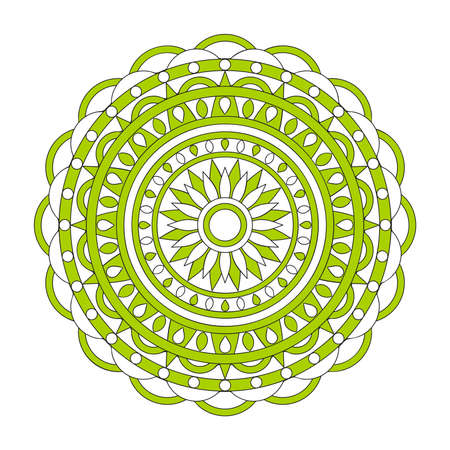 Isolated  mandala with geometric elements in ethnic, Indian, turkish, pakistan motifs for decorate yoga things, clothes, apparel, wall art, flyers and visit cards background design. 스톡 콘텐츠 - 151581531
