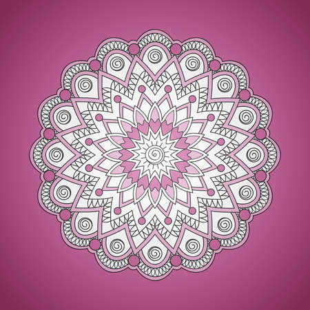 Colorful mandala with hand drawn arabesky elements. Isolated mandala on the vinous. Mandala print for decorate home, cards, dishes, porcelain, femine clothes, stationery, cases, bags. eps 10.