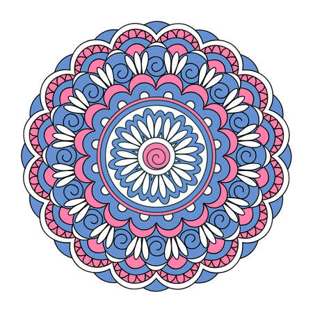 Colorful mandala with hand drawn arabesky elements. Isolated mandala on the white background. Mandala print for decorate home, cards, dishes, porcelain, clothes, stationery, cases, bags. eps 10. 일러스트